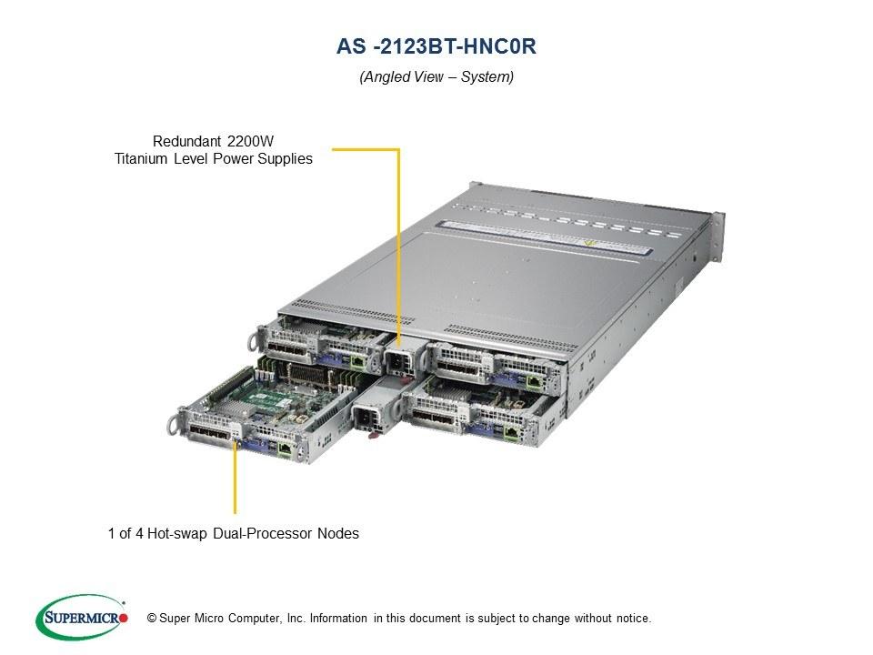 Supermicro EPYC AS-2123BT-HNC0R + H11DST-B BigTwin 4-Node 2U