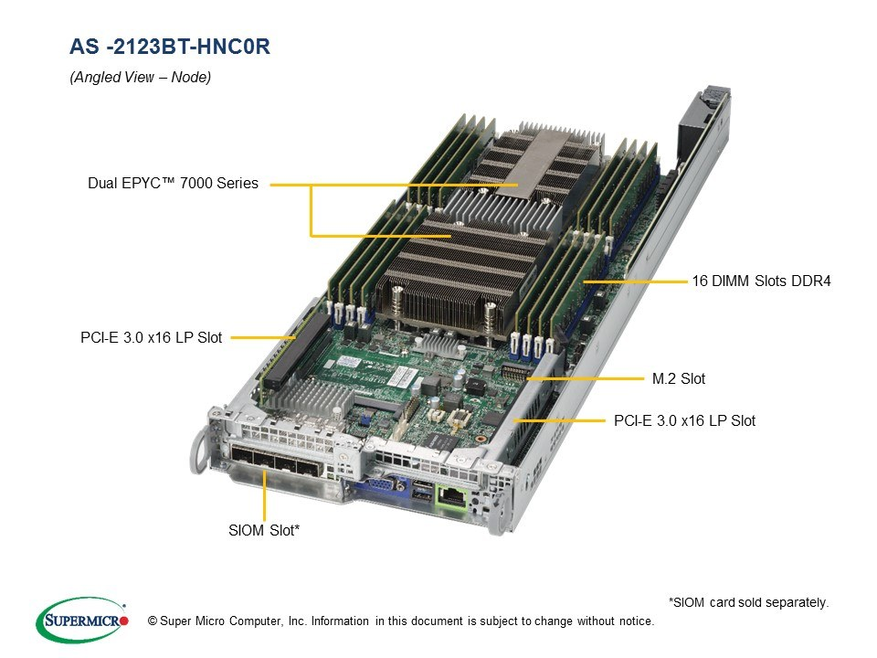 Supermicro EPYC AS-2123BT-HNC0R + H11DST-B BigTwin 4-Node 2U