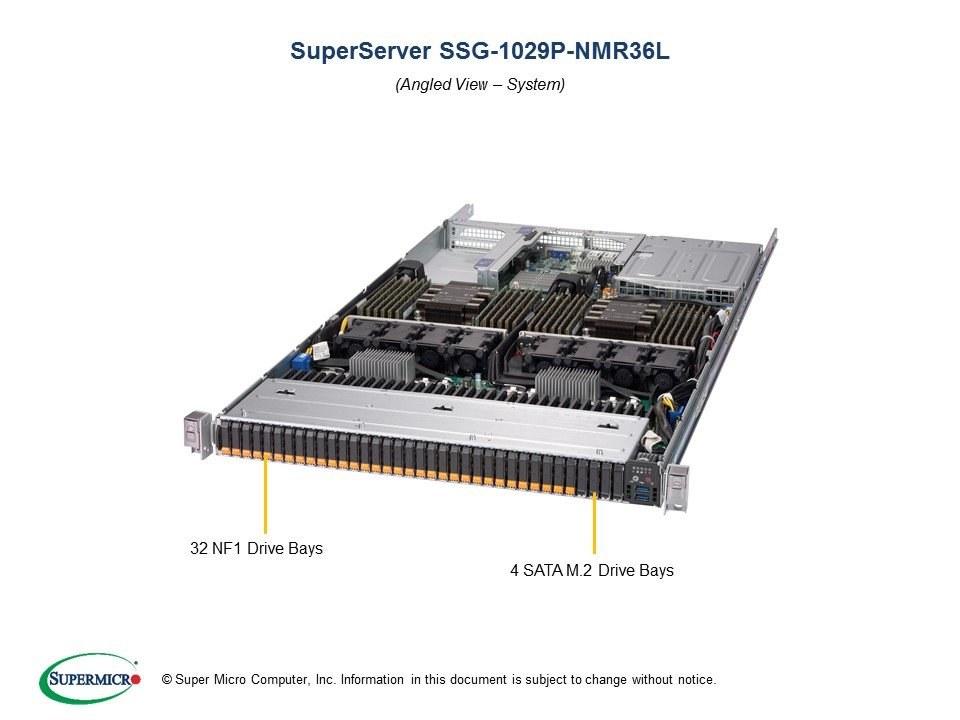 Supermicro 2-Xeon 1029P-NMR36L + X11DSF-E 36-Drive 1U